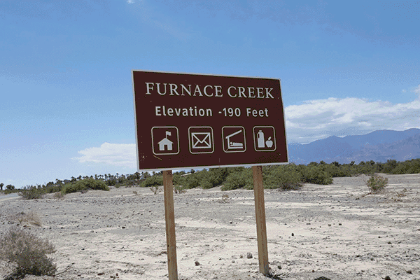Furnace Creek has the distinction of being the hottest place in the Valley