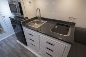 Kitchen Galley with Sink and Stove Burners