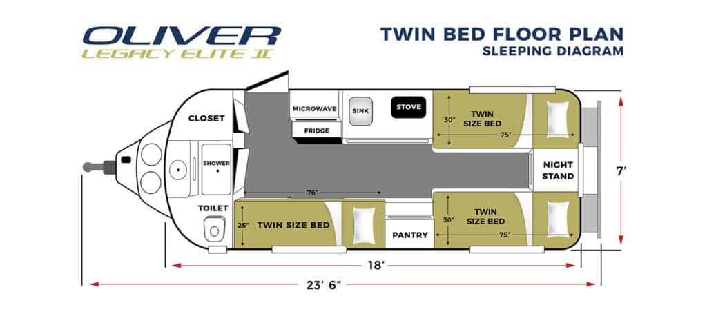 elite 2 twin bed sleeping floor plan