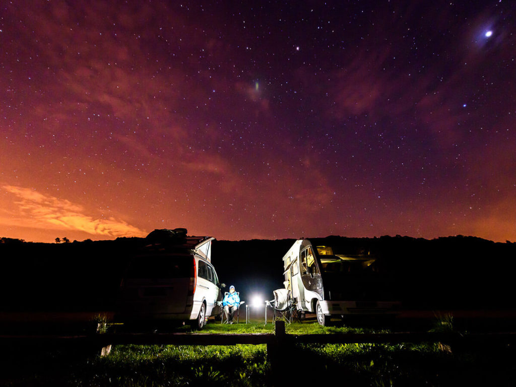 Friends enjoying the night sky and stargazing