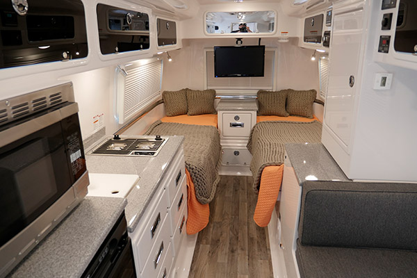 Legacy Elite II Interior Kitchen Galley, Cabinets, Twin Bed Floor Plan